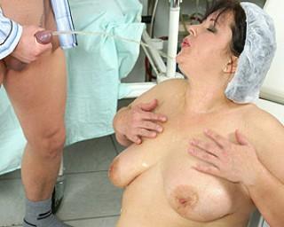 Big mature nurse gets an anal creampie